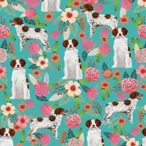 brittany spaniel dog fabric cute florals dog design