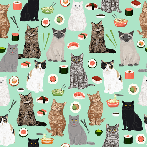 cat sushi fabric cute kawaii Japanese food cats kitty cat fabric fabric by petfriendly on Spoonflower - custom fabric