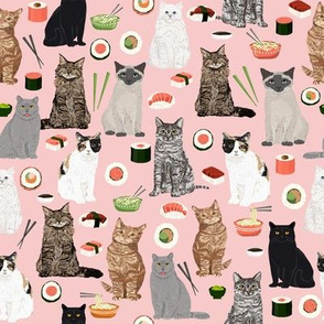 cat sushi fabric cute kawaii cat fabric
