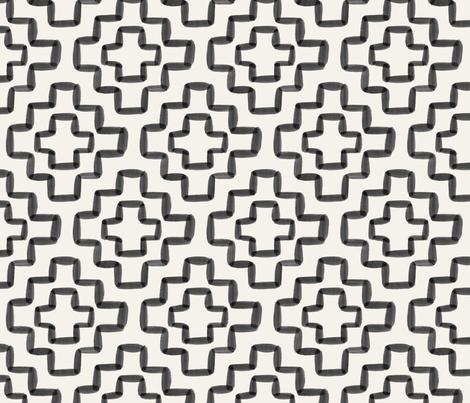 Black watercolor geometric - 6 inch repeat - Cream background fabric by howjoyful on Spoonflower - custom fabric