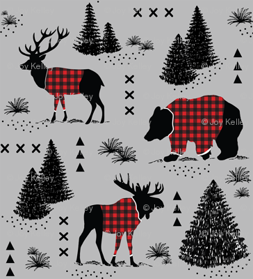 Bear, deer and moose - buffalo plaid and forest - Dark grey background