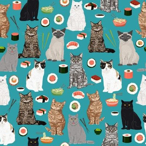 cat sushi teal fabric cute kawaii fabrics