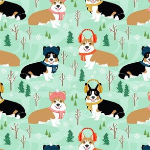 corgi snow day fabric red tri colored corgi fabric snow day winter fabrics