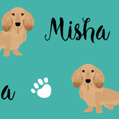 doxie dachshund custom name fabric customizable pet name fabric contact petfriendlydesigns@gmail.com to customize