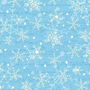 Snowflakes on Blue Wood
