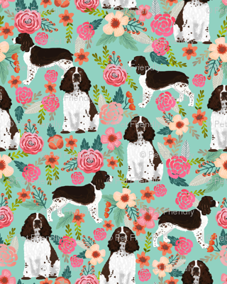 english springer spaniel floral fabric cute florals dog design
