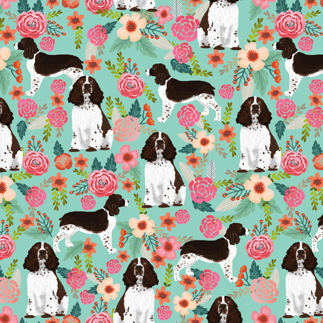 english springer spaniel floral fabric cute florals dog design fabric by petfriendly on Spoonflower - custom fabric