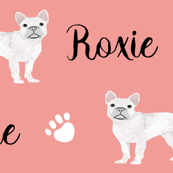 french bulldog white dog fabric customizable pet name fabric contact petfriendlydesigns@gmail.com to customize