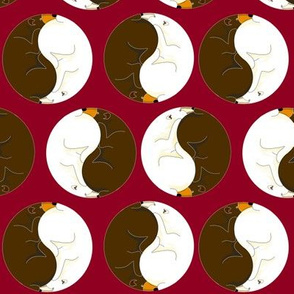 Custom Yin Yang Bears2 on Burgundy
