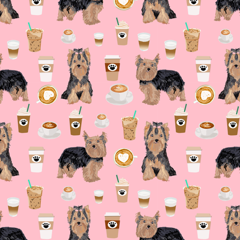 yorkie coffee fabric yorkshire terrier coffee design cute dogs fabric fabric by petfriendly on Spoonflower - custom fabric
