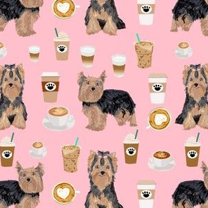Yorkie Fabric Wallpaper Gift Wrap Spoonflower