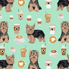 yorkie coffee fabric yorkshire terrier coffee design cute dogs fabric
