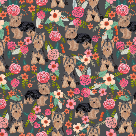 yorkie florals fabric yorkshire terrier floral fabric cute dogs fabric fabric by petfriendly on Spoonflower - custom fabric