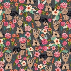 yorkie florals fabric yorkshire terrier floral fabric cute dogs fabric