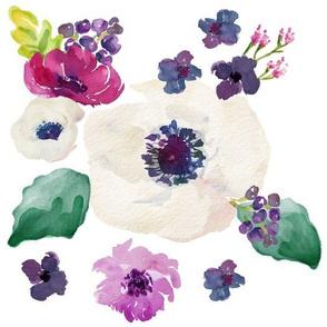 "Floral Dreams Purple & White - 10.5 fabric"""