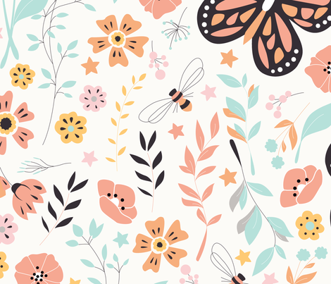 Flowers and Butterflies 001 fabric by bluelela on Spoonflower - custom fabric