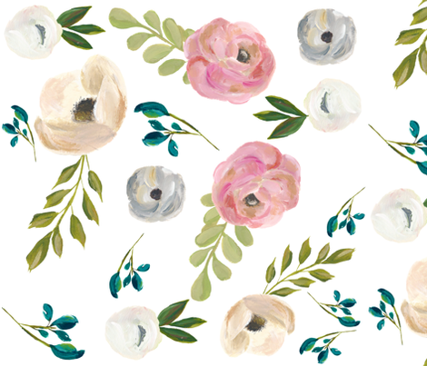 """August Floral in White - 18"""" fabric by shopcabin on Spoonflower - custom fabric"""