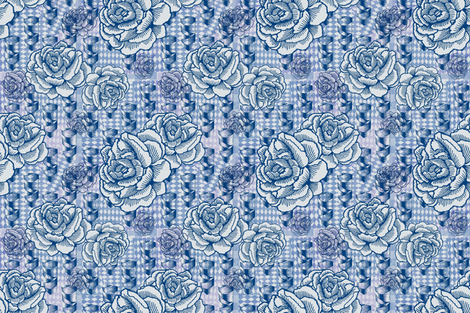 rose spindle - blue fabric by cinneworthington on Spoonflower - custom fabric