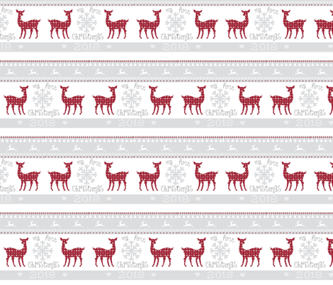 first christmas  2018 - 5 SMALL - berry deer snowflakes - mist fabric by drapestudio on Spoonflower - custom fabric