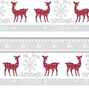 first christmas  2018 - 5 SMALL - berry deer snowflakes - mist
