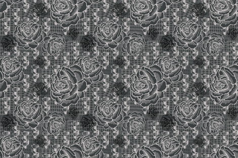 rose spindle - drkgrey fabric by cinneworthington on Spoonflower - custom fabric