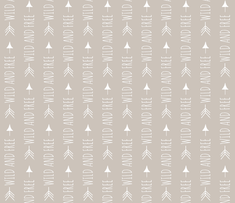 Rotated Wild and Free Arrows - beige fabric by sugarpinedesign on Spoonflower - custom fabric