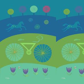 Bike, Tulips & Horse TeaTowel