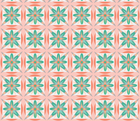coral teal geo star fabric by dnbmama on Spoonflower - custom fabric