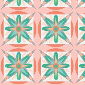 coral teal geo star
