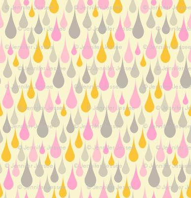 raindrops - pink gray cream large