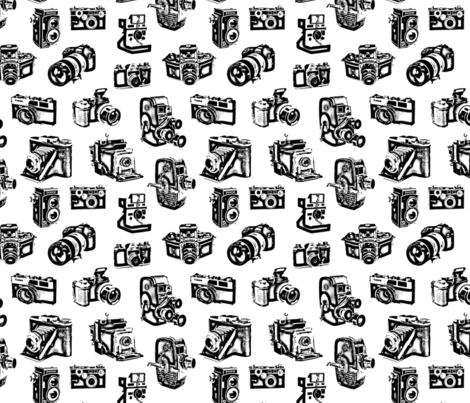 Stylized Vintage Cameras fabric by thinlinetextiles on Spoonflower - custom fabric