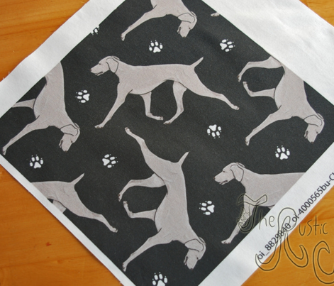 Trotting Weimaraner and paw prints - black