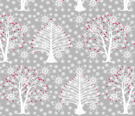 winter_trees_and_snowflakes fabric by lfntextiles on Spoonflower - custom fabric