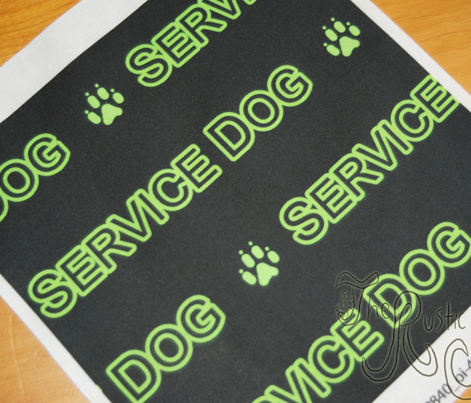 Basic Service dog text - green