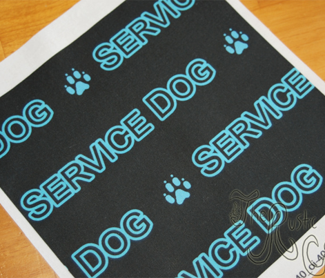Basic Service dog text - turquoise