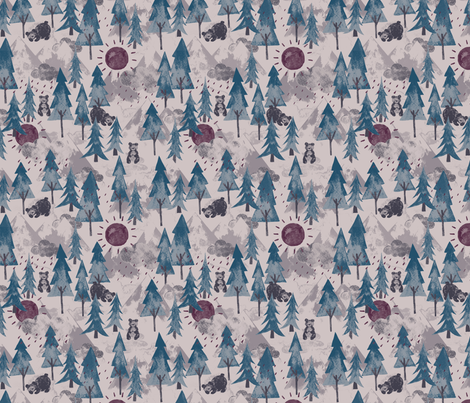 Bear Mountain Mulberry fabric by phirefly_print on Spoonflower - custom fabric