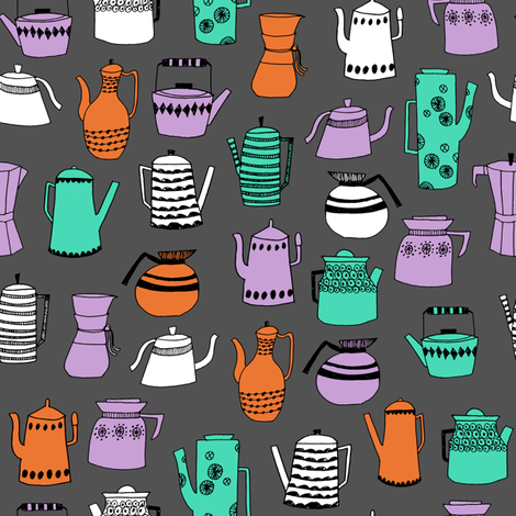 coffee and teapots // vintage retro teapots kitchen coffee pot design  fabric by andrea_lauren on Spoonflower - custom fabric
