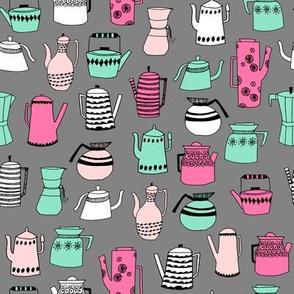 coffee and teapots // vintage retro teapots vintage retro kitchen design kitchen fabrics scandi design