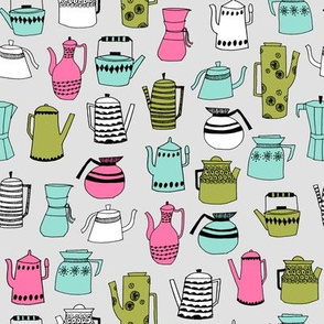 coffee and teapots // vintage retro teapot design coffees fabric andrea lauren design