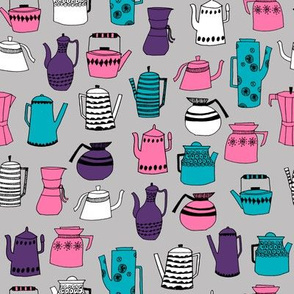 coffee and teapots // retro vintage tea pot fabric kitchen fabric design andrea lauren fabric