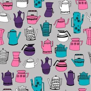 coffee and teapots // retro vintage tea pot fabric kitchen fabric design andrea lauren fabric