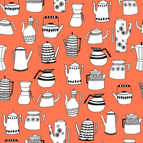 coffee and teapots // vintage retro orange kitchen fabric cute hand-drawn scandi fabric andrea lauren design