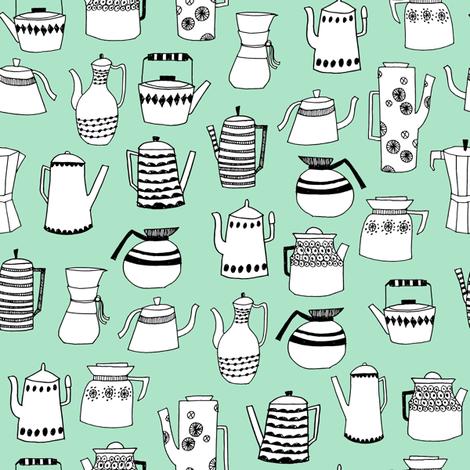 coffee and teapots // vintage retro teapots scandi mint design andrea lauren fabric fabric by andrea_lauren on Spoonflower - custom fabric