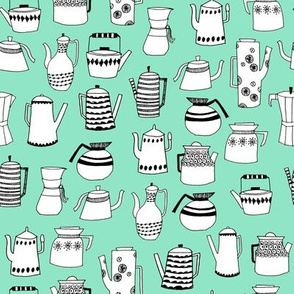 coffee and teapots // vintage retro teapots scandi mint design andrea lauren fabric