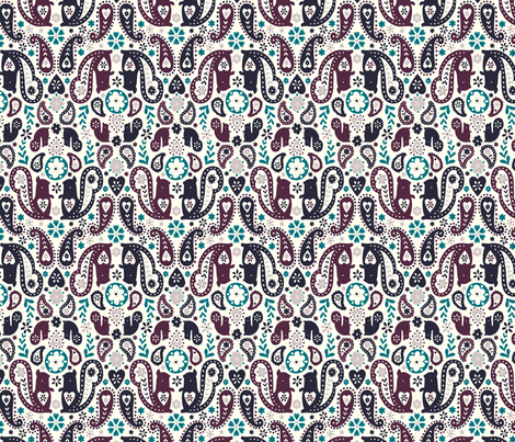 Mulberry Squirrels fabric by phirefly_print on Spoonflower - custom fabric