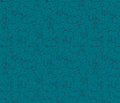 Teal Inky Mouse fabric by phirefly_print on Spoonflower - custom fabric