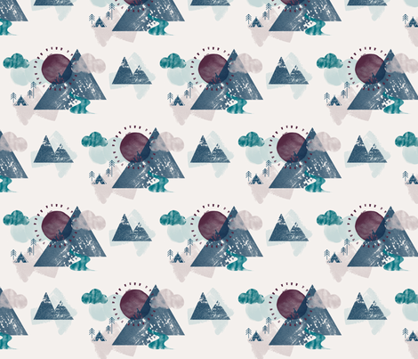 Watercolour Mountain Camp Petrol fabric by phirefly_print on Spoonflower - custom fabric