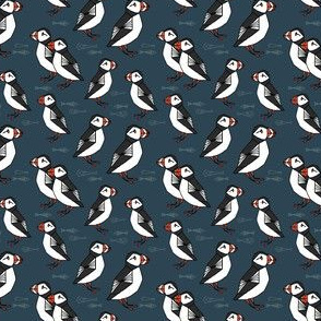 TINY puffin // puffins navy bird scandi fabric