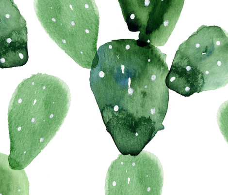 Watercolor Cactus fabric by roqholiday on Spoonflower - custom fabric