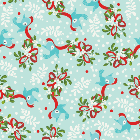 Mistletoe Happy! fabric by cynthiafrenette on Spoonflower - custom fabric